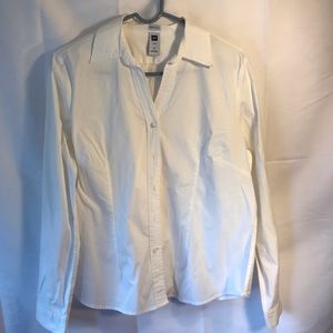 GAP Stretch White Button up Shirt with Collar XL